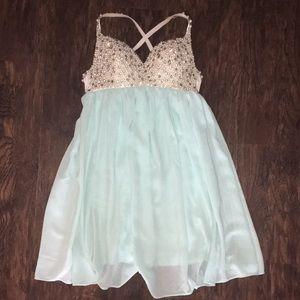 Hot Miami Styles Dresses - Tiffany blue diamond and pearl dress